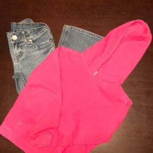 Girls 7 LEI Jeans and Pink Hoodie